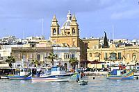Malta, Marsaxlokk, The harbour.
