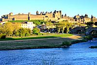 View of the fortified city of Carcassone, Languedoc-Rousillon, France.