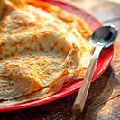 Homemade wheat pancakes details.