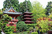 Japanese pagodas in a landscaped Japanese garden in California, USA.