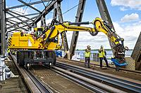 Repairing rail tracks in Moerdijkbrug (Moerdijk bridge). Netherlands
