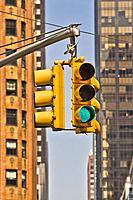 Traffic lights, Manhattan, New York, New York City, USA.