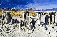 Sand tufa formations on the south shore of Mono Lake, Mono Basin National Scenic Area, California USA.