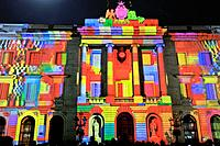 Mapping on the Town hall building. Celebration of saint Eulalia martyr, February 12. 290-303 AD. Canonized 633 AD. Copatron of Barcelona. Raval area. ...
