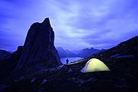 Norway, Troms County, north of the Arctic Circle, Senja island between Tromso and the Lofoten islands, Fjordgard village, wild camping near the peak o...