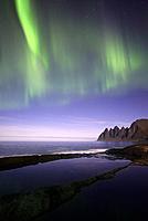 Norway, Troms County, north of the Arctic Circle, Senja island between Tromso and the Lofoten islands, Tungeneset coastline, Devil's Teeth, Okshornan ...