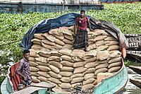 Manual labor at Saderghat on the Buriganga River, Dhaka, Bangladesh.