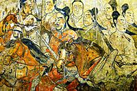 Northern Qi Dynasty. Detail of The Procession mural from the Lourui Tomb in Wangguo Village, Taiyuan city, Shanxi Province, China.