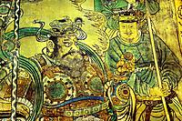 Yuan Dynasty. Detail of Taoist Deities Visit the Celestial Worthy of the Original Beginning. Mural from Pure Trinity Hall, Yongle Palace, Shanxi China...