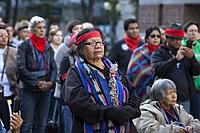 Seattle, Washington: Tribe members and supporters gather at Westlake Park for the Indigenous Peoples' Day March and Celebration. Seattle has celebrate...