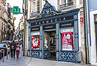 Pharmacy on Largo Sao Domingos street in Porto city on Iberian Peninsula, second largest city in Portugal.