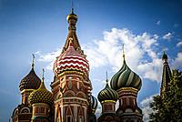 Russia St. Basil's Cathedral in Moscow at day.