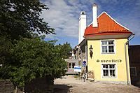 View to a traditional building in the old town, Tallinn, Estonia, Baltic States, Europe.