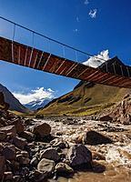 Suspension Bridge over Horcones River, Aconcagua Mountain, Aconcagua Provincial Park, Central Andes, Mendoza Province, Argentina.