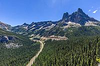 View from Washington Pass Overlook in North Cascades National Park of North Cascades Highway - Hwy 20 in Washington State United States.