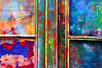 painted door, Barcelona, Catalonia, Spain
