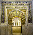 Richly gilded prayer niche or Mihrab of Cordoba Mosque. Andalusia, Spain.