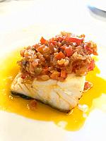 Cod loin with vegetables and olive oil.