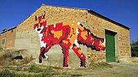 Festival of murals and rural art at Penelles, Lleida, Catalonia, Spain.