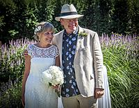 A senior couple, 65, at their outdoor wedding in West Vancouver, BC, Canada.