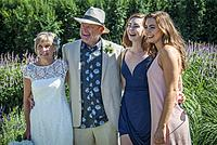 A senior couple and his daughters at an outdoor wedding in West Vancouver, BC, Canada.