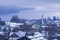 Austria, Salzburgerland, St. Gilgen, elevated town view, winter.