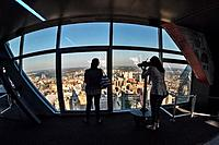 Tourists on top level of One Liberty Observation Deck, Philadelphia, Pennsylvania, USA.