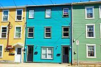 Bright coloured typical houses, St John's, Avalon Peninsula, Newfoundland, Canada.