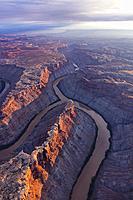 Junction Green and Colorado river, Canyonlands National Park, Utah, USA, America.