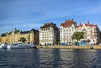 Hotel Esplanade, Posh houses along Strandvägen, a boulevard on Ostermalm, Stockholm, Sweden.