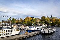 Boats in old naval base at Skeppsholmen island, Stockholm, Sweden.