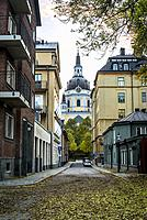 Master Mikaels gata, a historical street and Baroque St Catherine's Church, Sodermalm, Stockholm, Sweden.