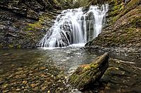 A close up of a clear stream at lower Sweetcreek Falls near Metaline, Washington.