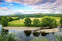 Breathtaking skies soar above stunning river vista , Kirkby Longsdale, Cumbria, England. The view of the River Lune from the churchyard in Kirkby Lons...