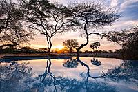 Sunset Reflections at Onguma Tented Camp, Onguma Game Reserve, Namibia, Africa.