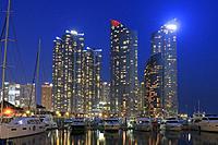 Marine City at Dusk, Busan, South Korea.