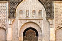 Morocco, Marrakech-Safi (Marrakesh-Tensift-El Haouz) region, Marrakesh. Ben Youssef Madrasa, 16th century Islamic college.