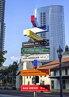 Signpost in downtown San Diego, California.