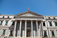 Facade of the Congress of Deputies of Madrid, Spain