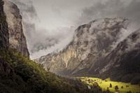 The magic of the Lauterbrunnen valley, Switzerland. The clouds are so normal in this valley.