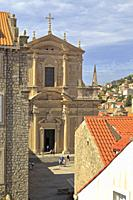 Church of St Ignatius in Dubrovnik Old City from the city walls, Croatia, UNESCO world heritage site, Dalmatia, Dalmatian Coast, Europe.