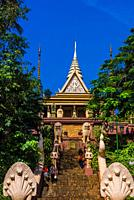 Wat Phnom is a sacred Buddhist pagoda prominently sitting atop a small hill (at 89 feet it is the highest point in the city) in the Cambodian capital ...