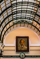 Interior view of the Saigon Central Post Office. The building was constructed when Vietnam was part of French Indochina in the late 19th century. It c...
