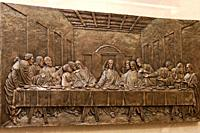 Relief of the Last Supper with Jesus Christ breaking bread at the Passover meal in the upper room with the apostles before his passion and death Vaugh...