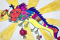 Childs drawing of a dragon used during Dragon Festival in China.