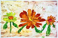Childs watercolor drawing of flowers and gold flaking.
