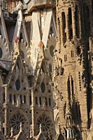 Closeup La Sagrada Familia Barcelona Spain 2017.