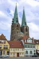 View through Pölkenstrasse Street to St. Nikolai´s Church in the Old Town of Quedlinburg, Saxony-Anhalt, Germany.