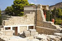 View from behind of the North pillar hall, Knossos palace archaeological site, Crete island, Greece, Europe.