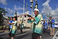 Itoman, Okinawa, Japan: awamori dance during the O-tsunahiki Festival